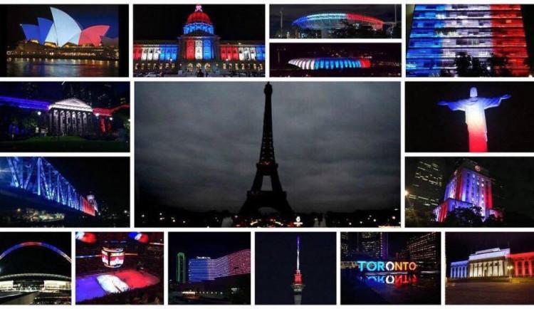 Svět se zahaluje ze solidarity do barev francouzské trikolory